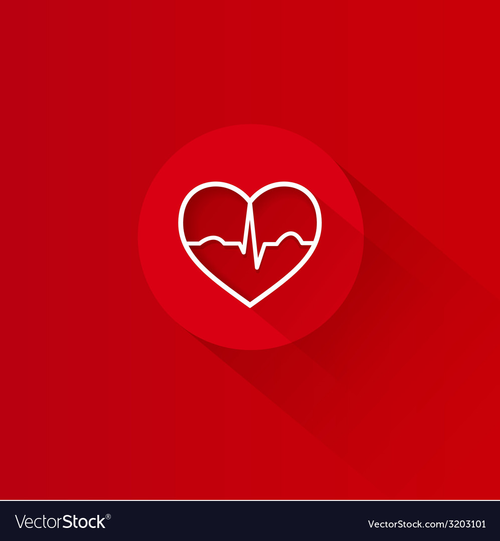 Flat long shadow red heart ecg design vector | Price: 1 Credit (USD $1)