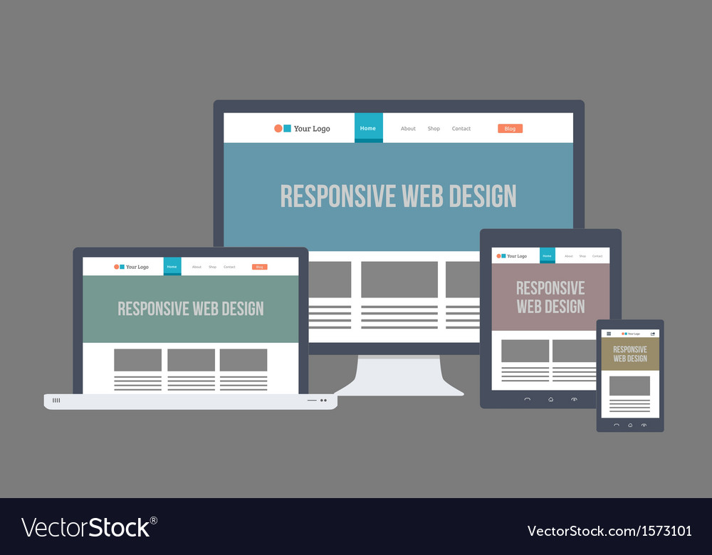 Flat responsive website design vector | Price: 1 Credit (USD $1)
