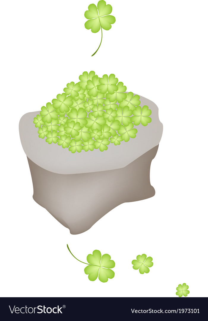 Fresh four leaf clovers in a sack vector | Price: 1 Credit (USD $1)