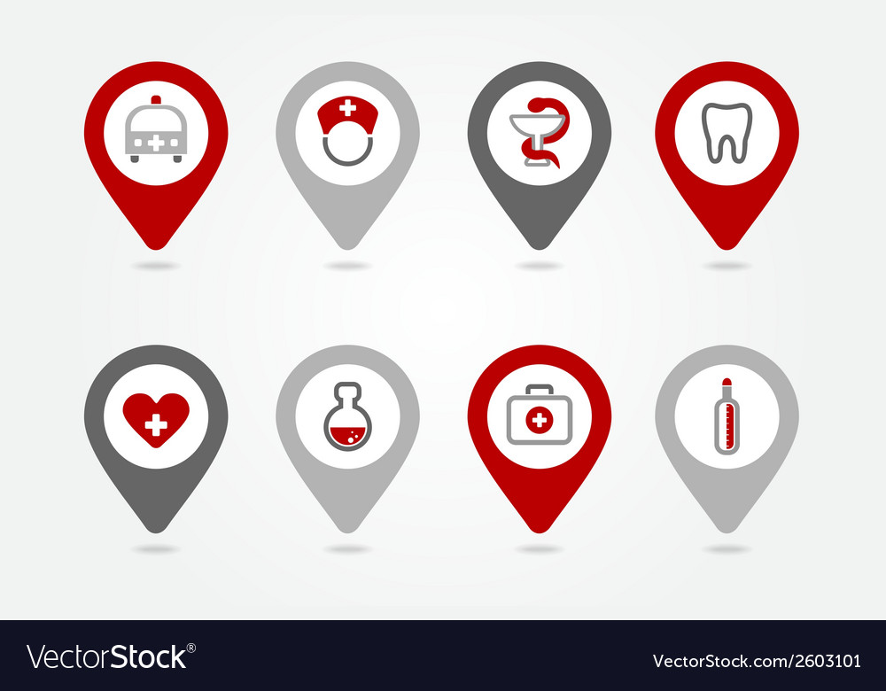 Medical mapping pins icons vector | Price: 1 Credit (USD $1)