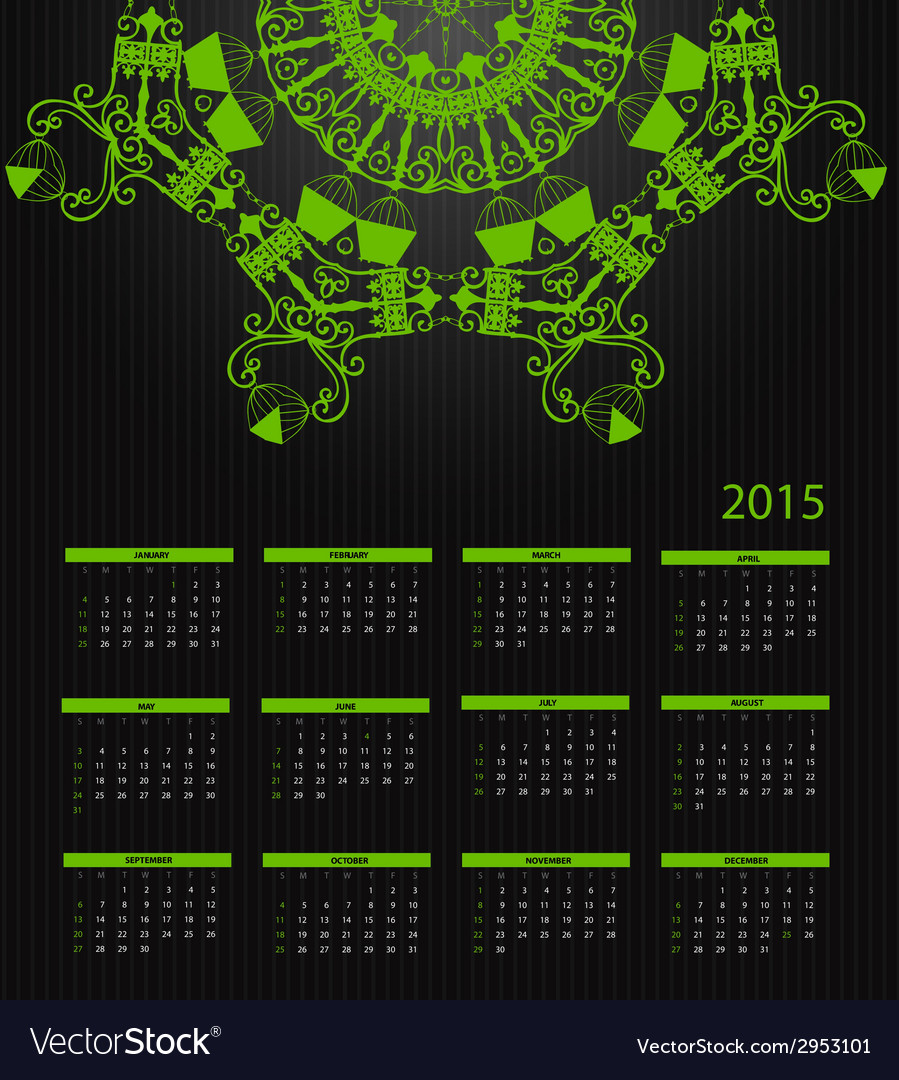 New year calendar 2015 vector | Price: 1 Credit (USD $1)