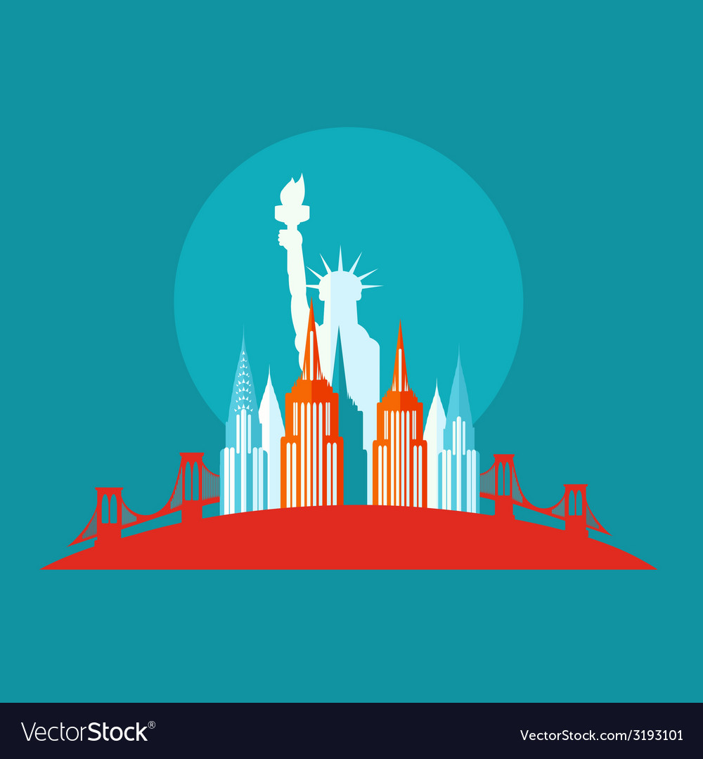New york icon flat vector | Price: 1 Credit (USD $1)