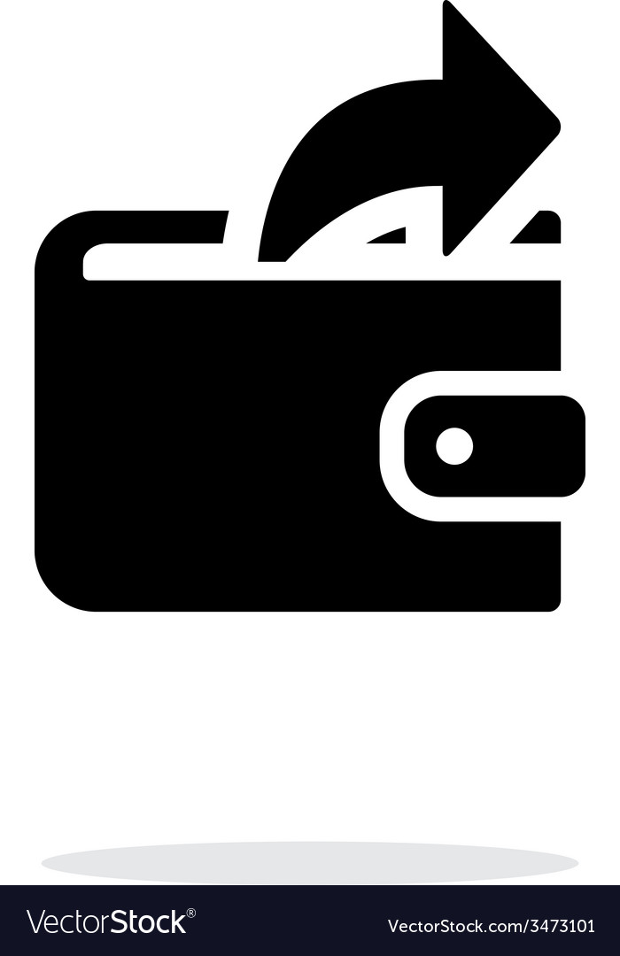 Outgoing payment from wallet icon on white vector | Price: 1 Credit (USD $1)