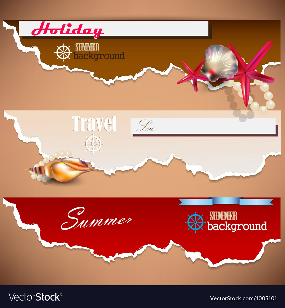 Set of holiday banners with shells and place for vector | Price: 3 Credit (USD $3)