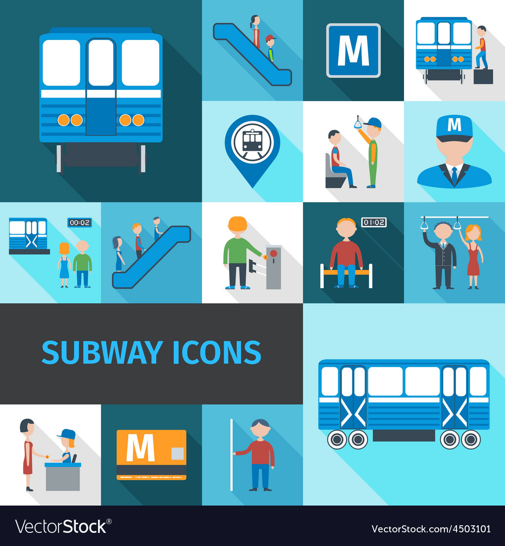 Subway icons flat vector | Price: 1 Credit (USD $1)