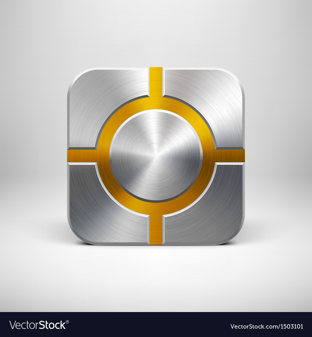 Technology app icon template with metal texture vector | Price: 1 Credit (USD $1)