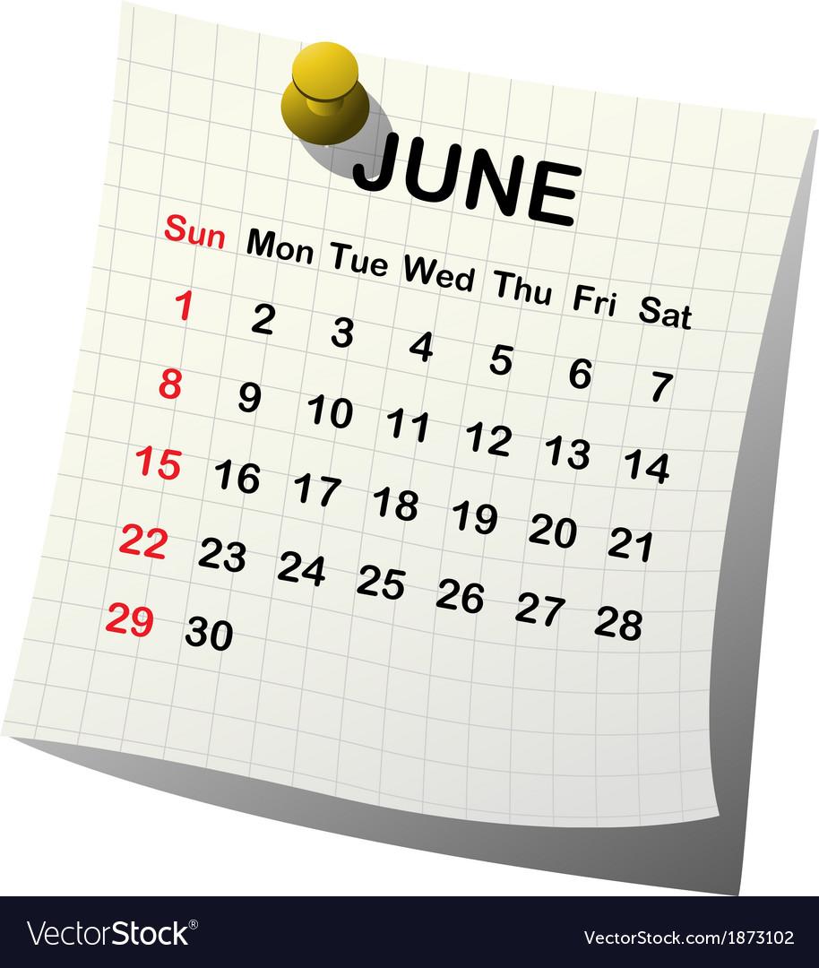 2014 paper calendar for june vector | Price: 1 Credit (USD $1)