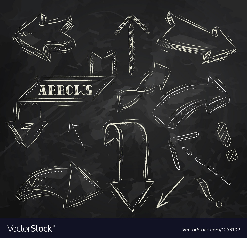 Arrow stylized drawing in chalk on the blackboard vector | Price: 1 Credit (USD $1)