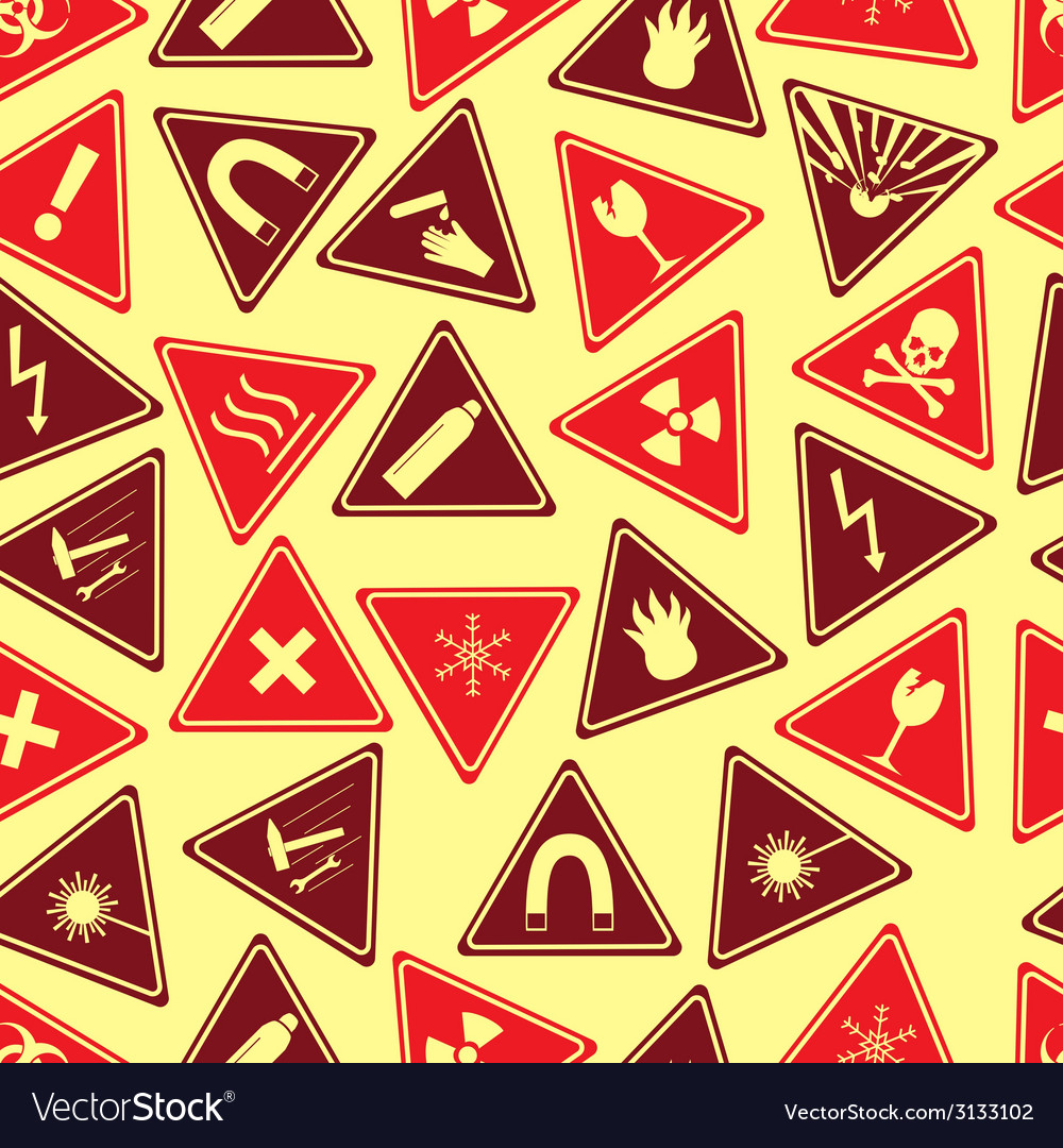 Colorful danger signs types seamless pattern eps10 vector | Price: 1 Credit (USD $1)
