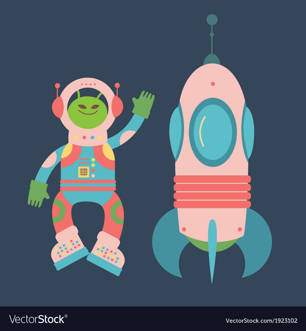 Friendly alien and rocket vector | Price: 1 Credit (USD $1)