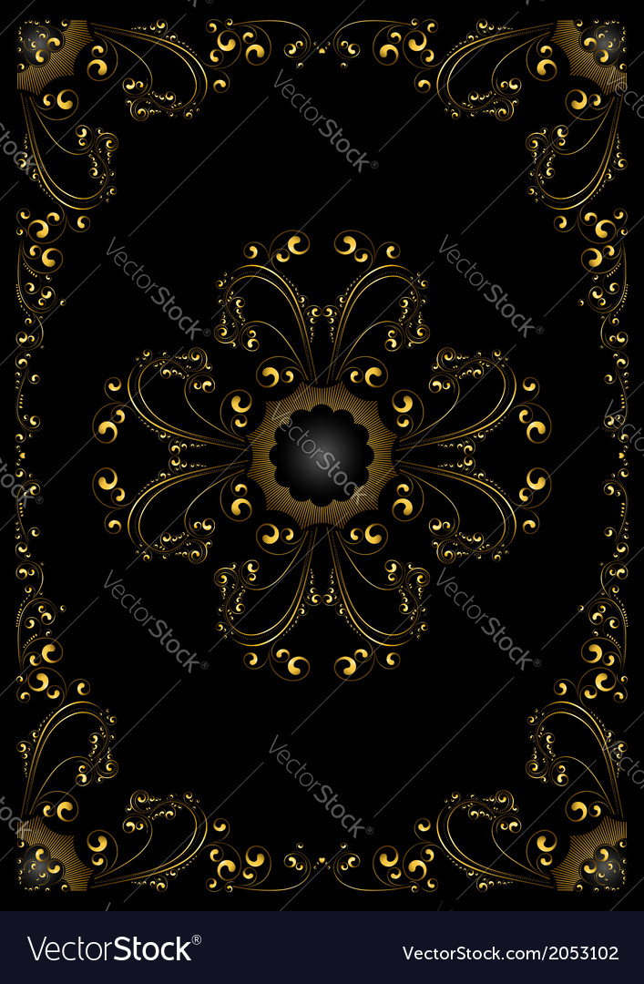 Gold frame with calligraphic ornament vector | Price: 1 Credit (USD $1)