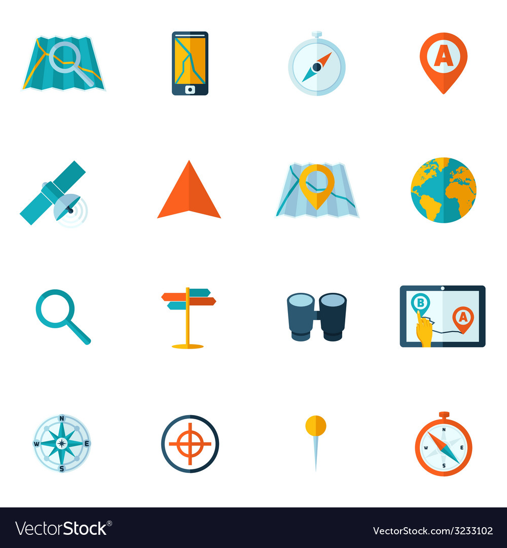 Navigation icon flat set vector | Price: 1 Credit (USD $1)