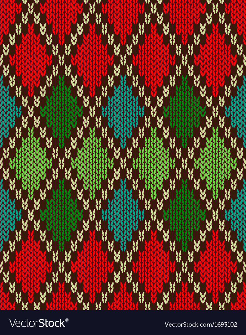 Seamless christmas knitted pattern vector | Price: 1 Credit (USD $1)