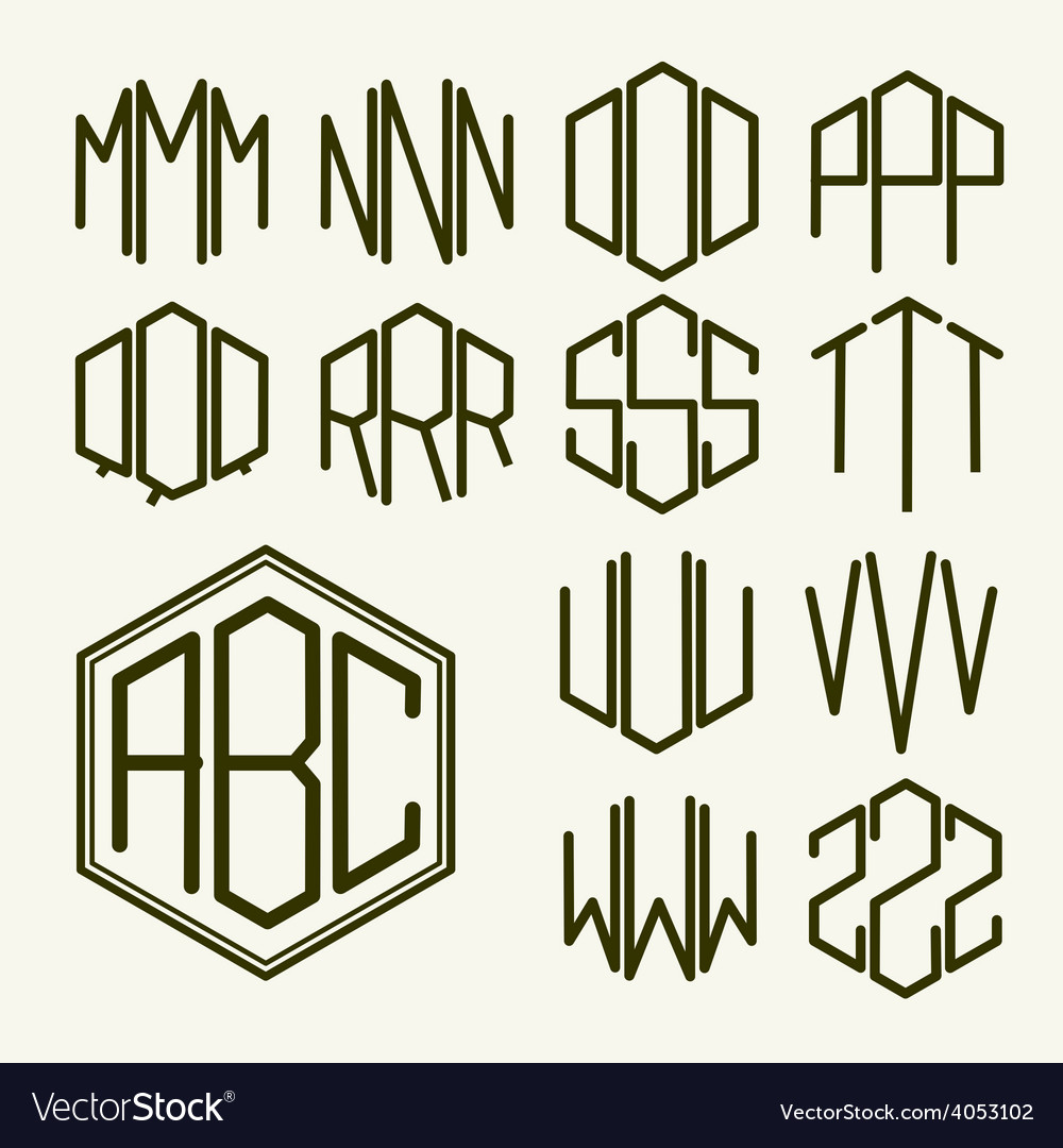 Set 2 template letters to create a monogram vector | Price: 1 Credit (USD $1)