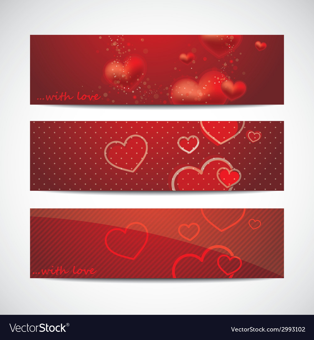 Set of banners with red hearts vector | Price: 1 Credit (USD $1)