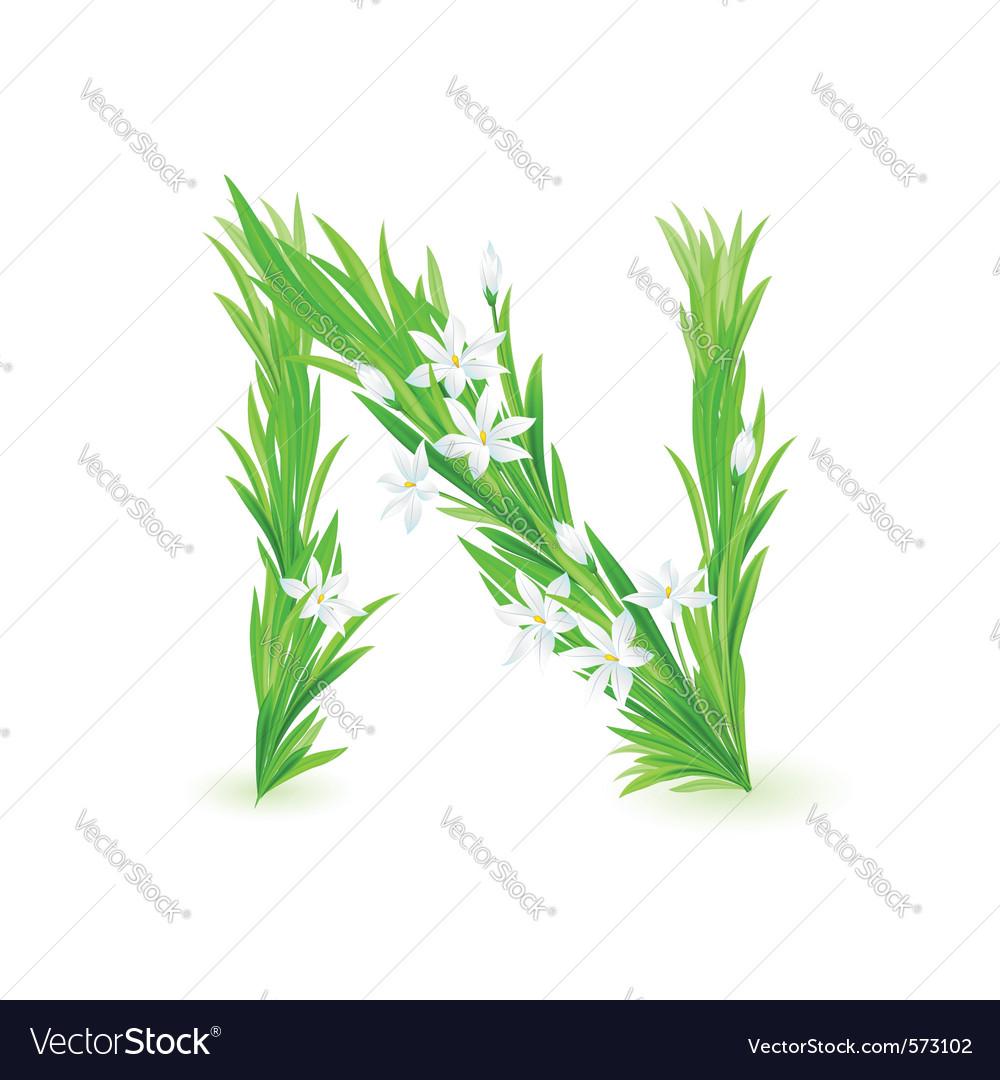 Spring flowers alphabet n vector | Price: 1 Credit (USD $1)