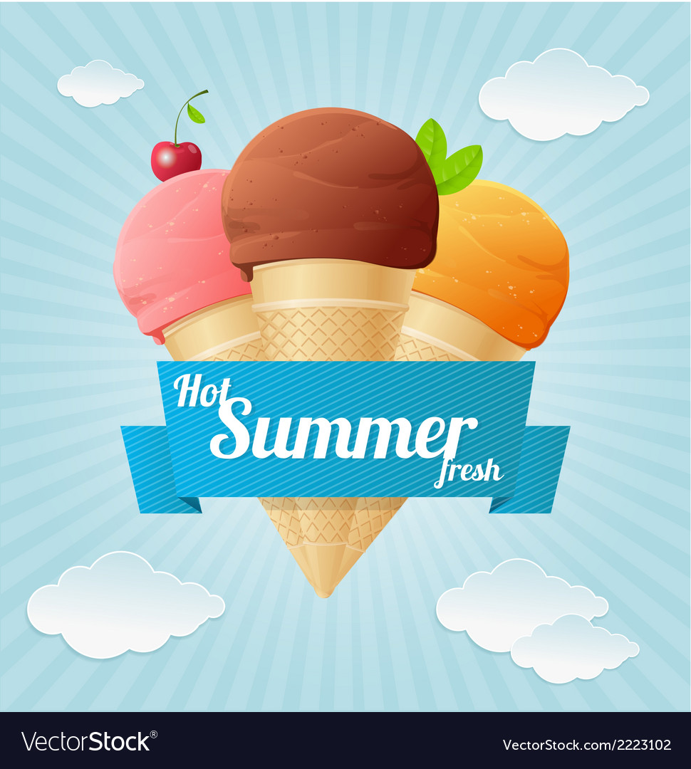Summer vintage ice cream poster vector | Price: 1 Credit (USD $1)