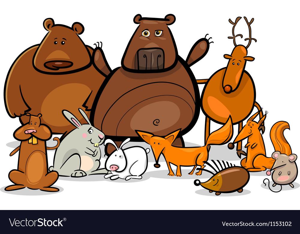 Wild forest animals group cartoon vector   Price: 1 Credit (USD $1)