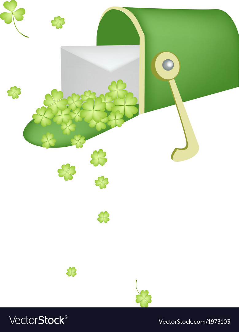 A letter and four leaf clovers in mailbox vector | Price: 1 Credit (USD $1)