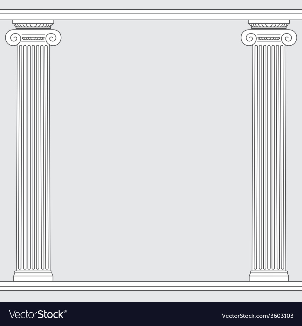 Black and white line drawing ionic order columns vector | Price: 1 Credit (USD $1)