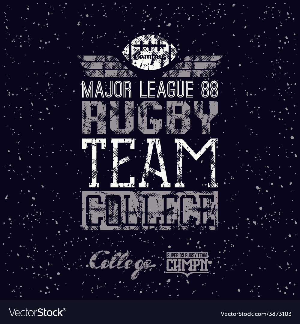 Campus rugby team print vector | Price: 1 Credit (USD $1)