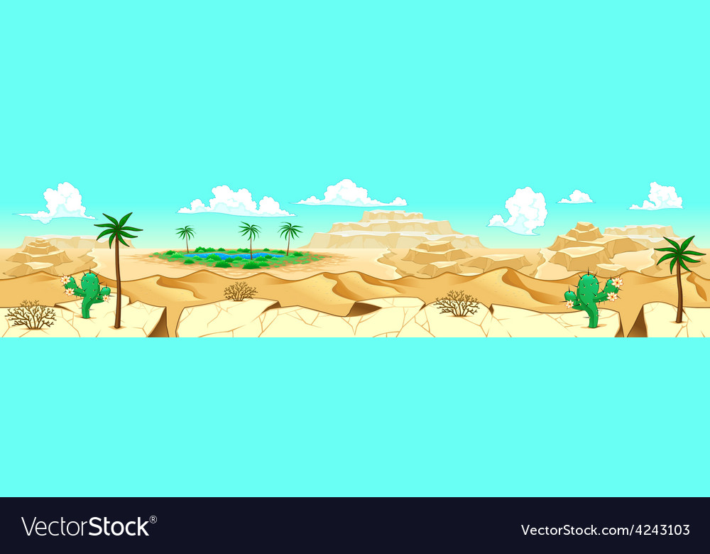 Desert with oasis vector | Price: 1 Credit (USD $1)