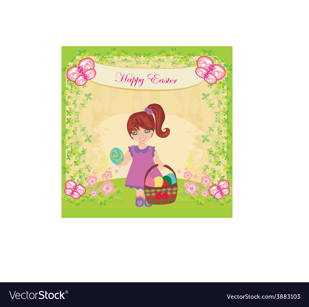 Easter card with girl and a basket of eggs vector
