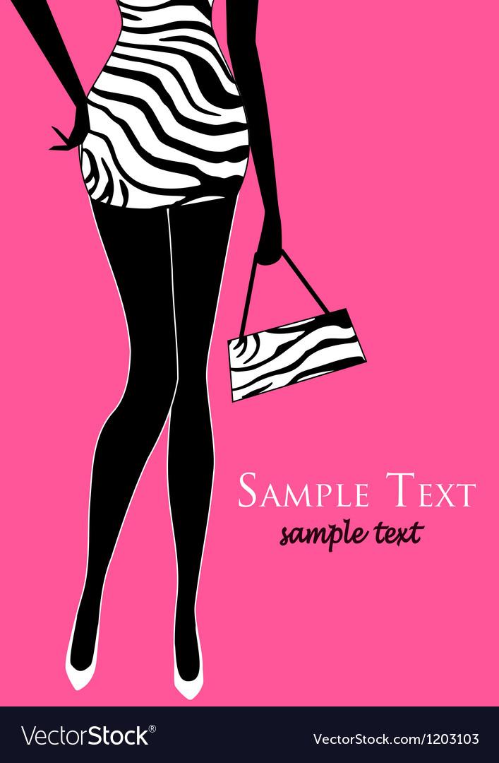 Female legs zebra patterned retro dress vector