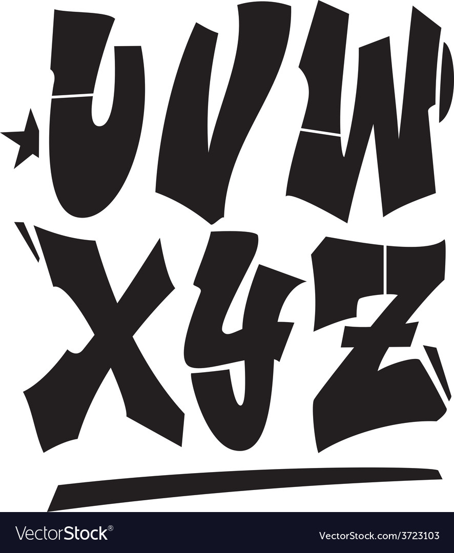 Graffiti style font type alphabet part 3 vector | Price: 1 Credit (USD $1)