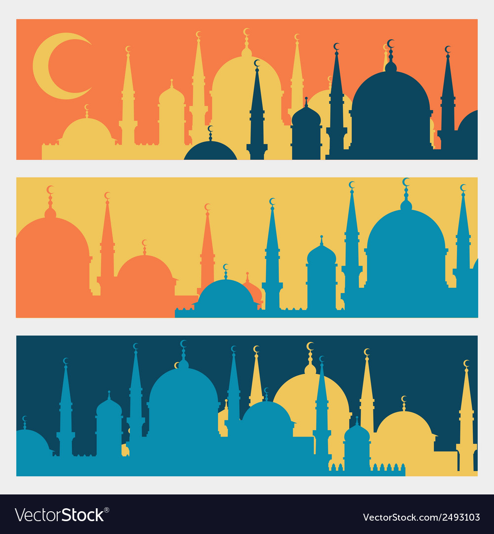 Horizontal banners with islamic mosques in flat vector | Price: 1 Credit (USD $1)