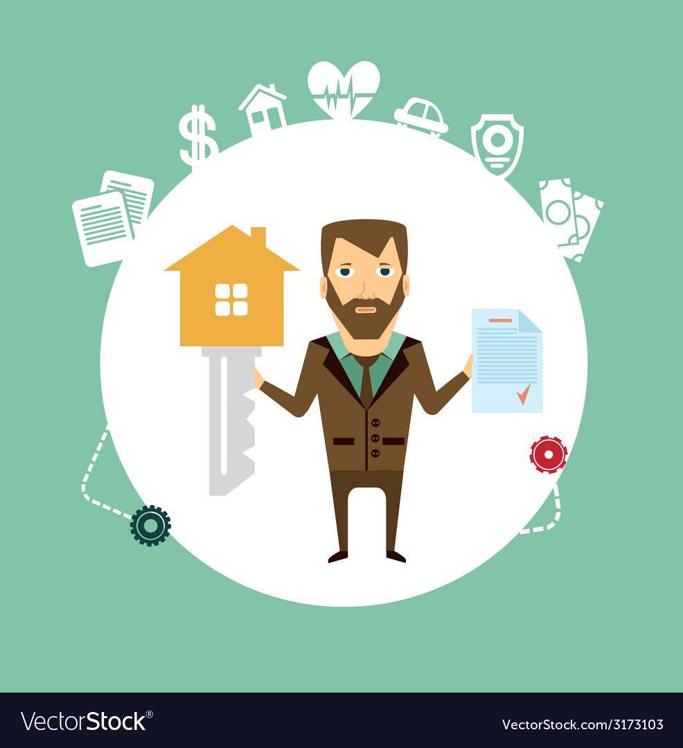 Insurance agent holds in one hand a huge key and vector | Price: 1 Credit (USD $1)