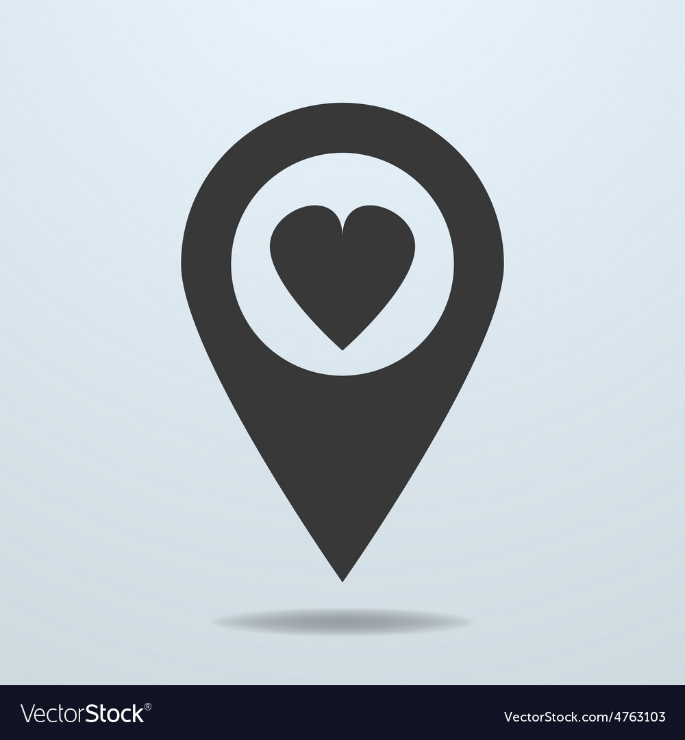 Map pointer with a heart symbol vector | Price: 1 Credit (USD $1)