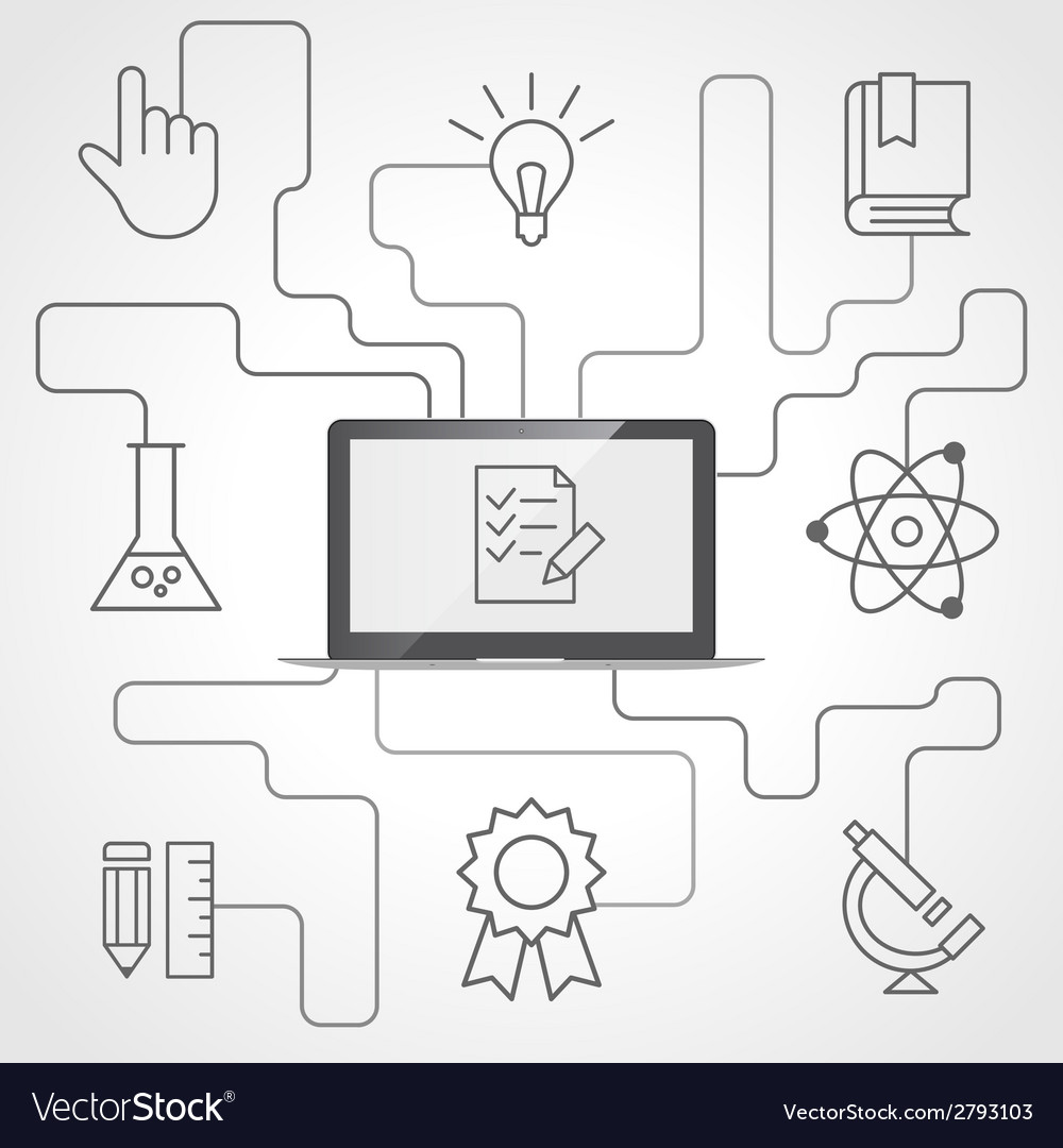 Science and education infographics with computer vector   Price: 1 Credit (USD $1)