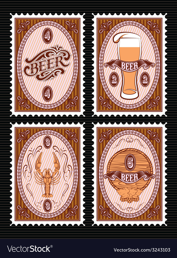 Set of postage stamps with glass of beer keg lobst vector | Price: 1 Credit (USD $1)