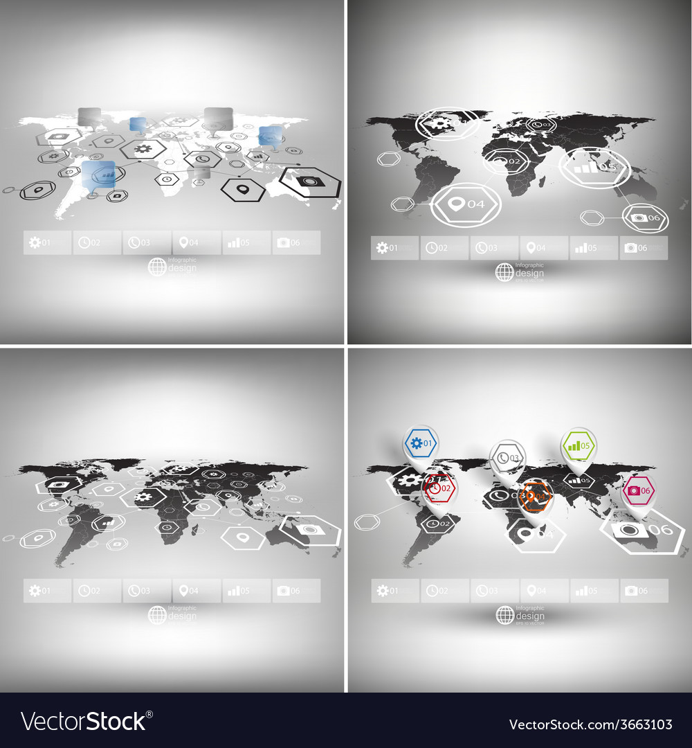 Set of world maps in perspective infographic vector | Price: 1 Credit (USD $1)