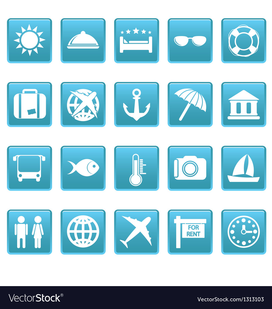 Travel icons on blue squares vector | Price: 1 Credit (USD $1)