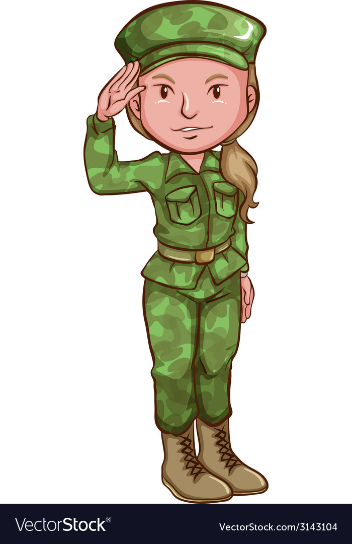 A sketch of a female soldier vector | Price: 1 Credit (USD $1)