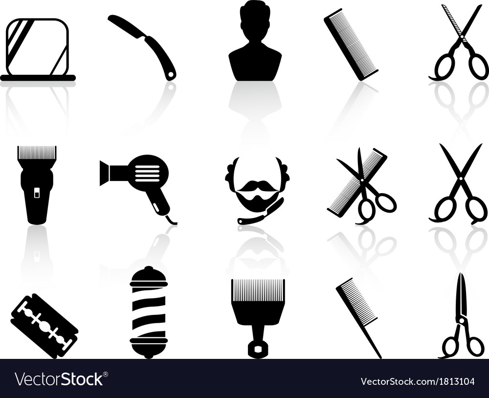 Barber tools and haircut icons set vector | Price: 1 Credit (USD $1)