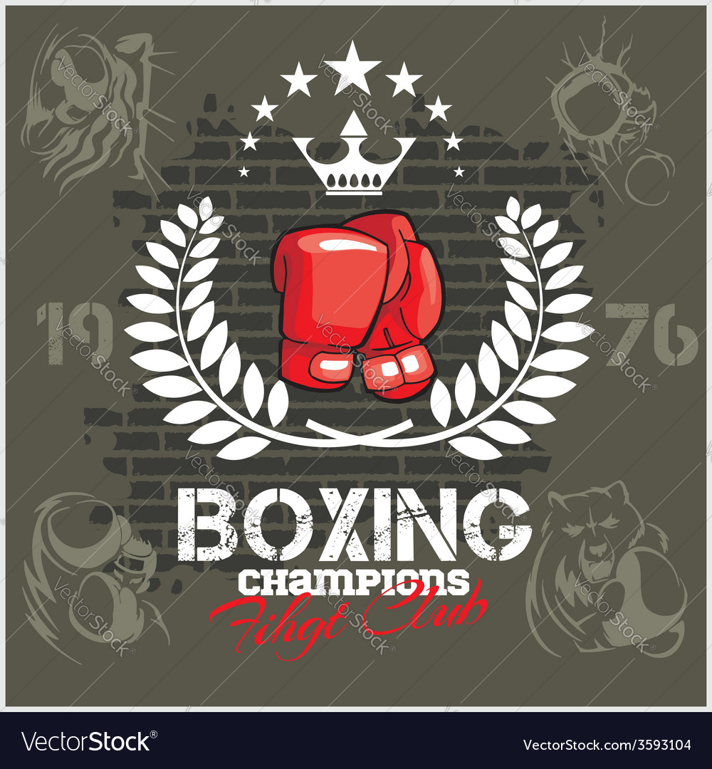 Boxing labels and icons set vector | Price: 1 Credit (USD $1)