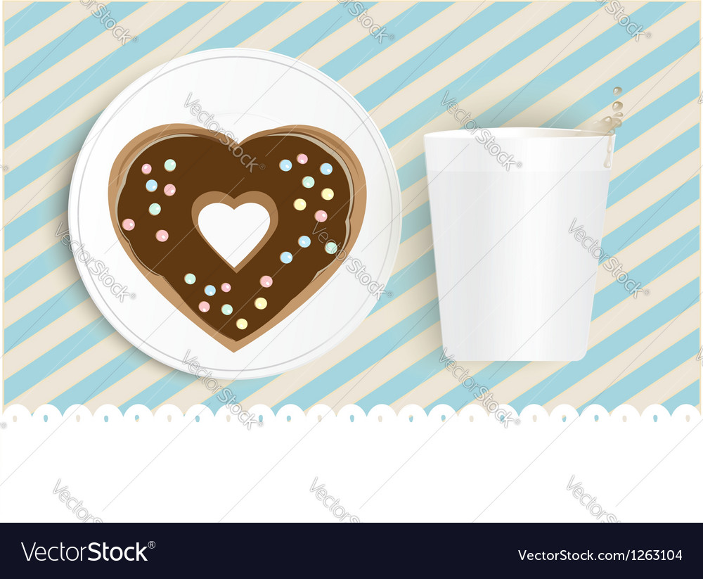 Chocolate doughnut and cup with copyspace vector | Price: 1 Credit (USD $1)