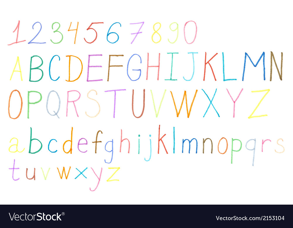Colorful hand drawn alphabet and numbers vector | Price: 1 Credit (USD $1)