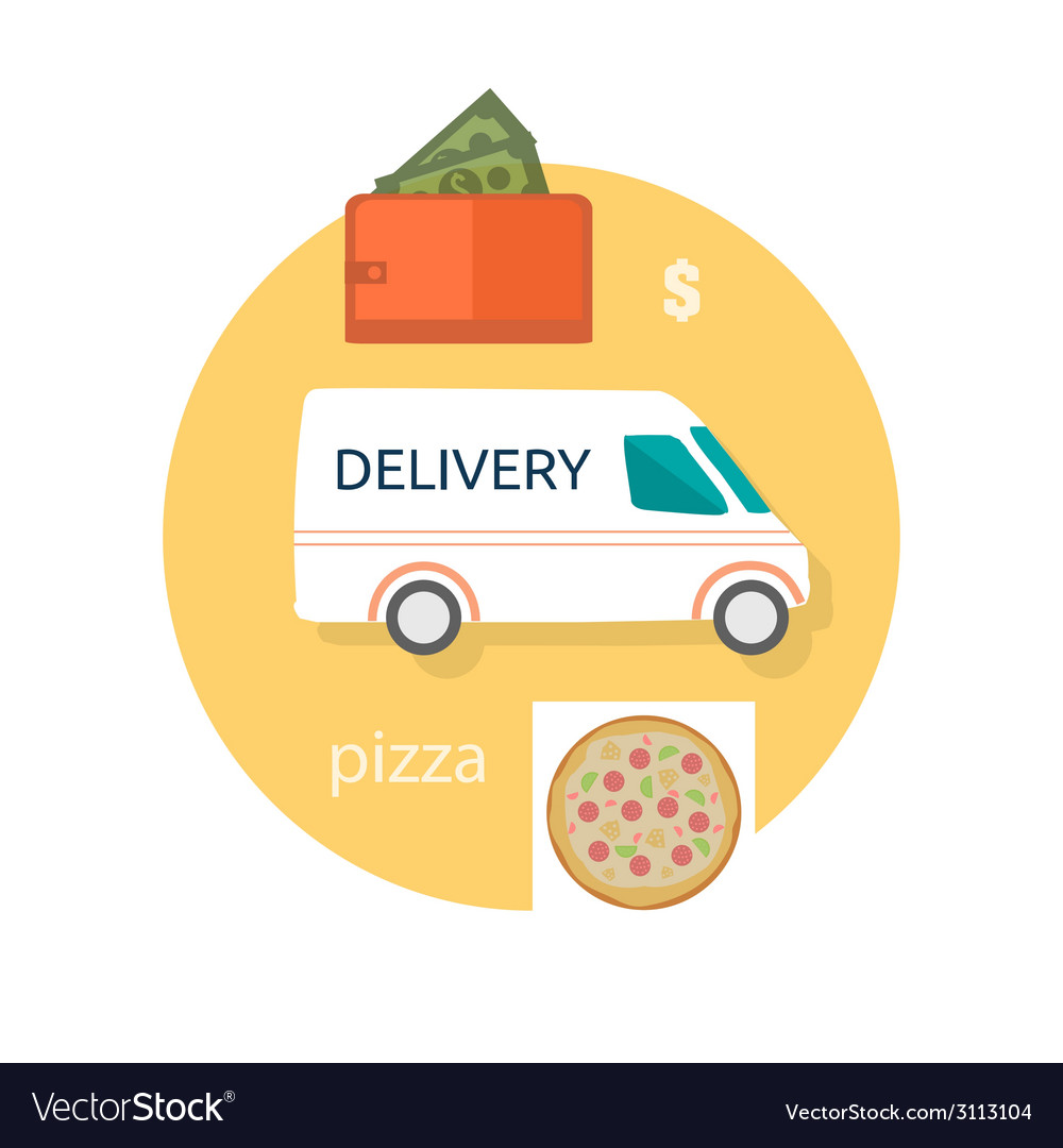 Fast food pizza delivery vector | Price: 1 Credit (USD $1)