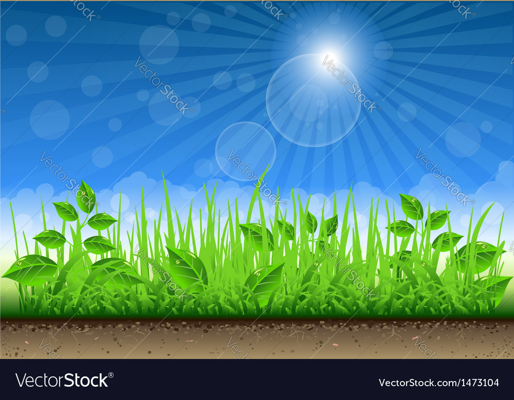 Grass border on clear sky background vector | Price: 1 Credit (USD $1)