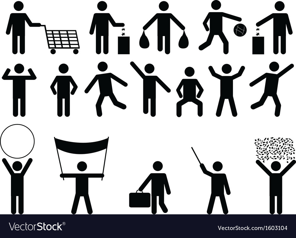Human pictograms with different objects vector | Price: 1 Credit (USD $1)