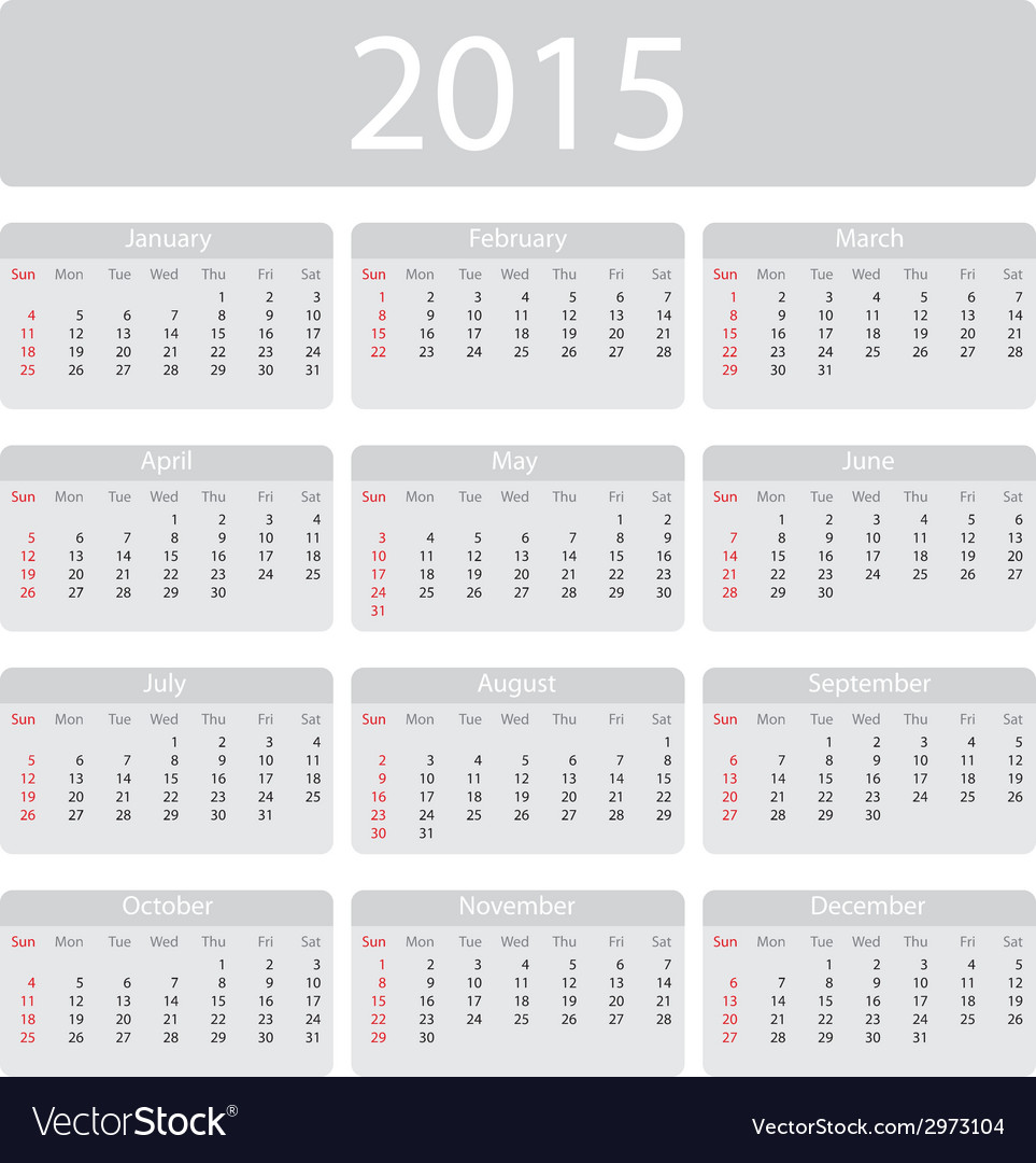 Minimalistic 2015 calendar vector | Price: 1 Credit (USD $1)