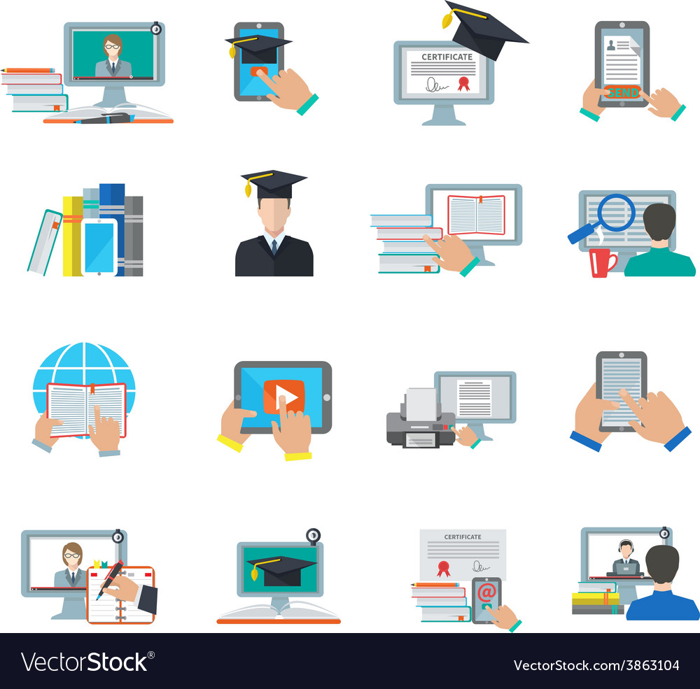 Online education flat icon vector | Price: 1 Credit (USD $1)