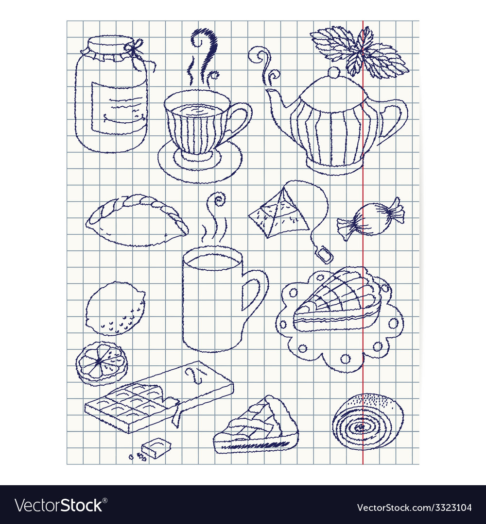 Paper sheet with ink drawing teatime set vector | Price: 1 Credit (USD $1)