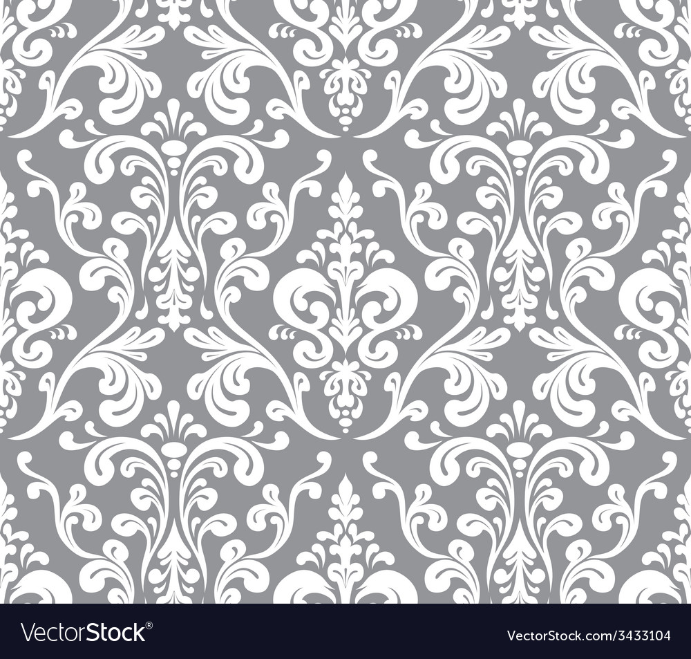 Seamless elegant damask pattern grey and white vector | Price: 1 Credit (USD $1)