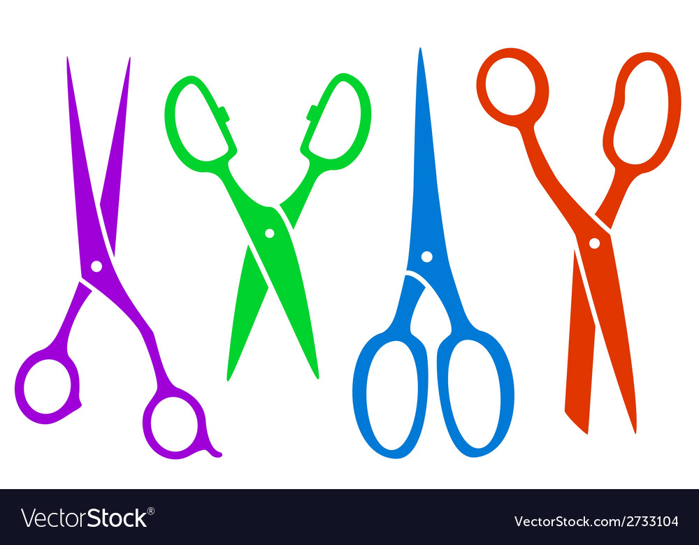 Set colorful four scissors vector | Price: 1 Credit (USD $1)