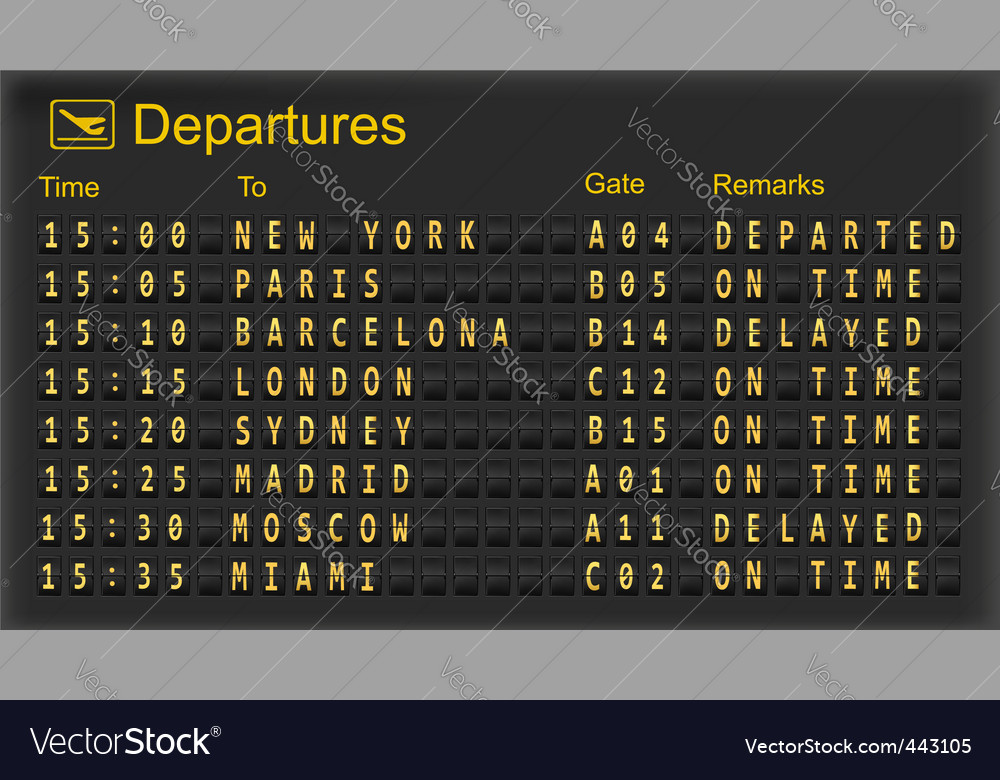 Airport departures board vector | Price: 1 Credit (USD $1)